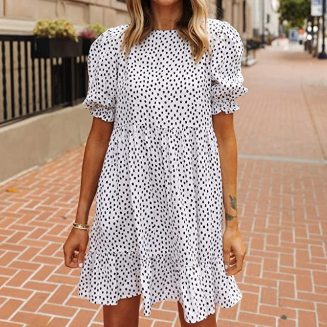 Polka Dot Print Short Sleeve Mini Dress-White-S-