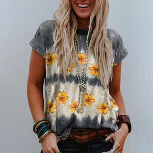 Popular Daisy Printed T-Shirt-Grey-S-