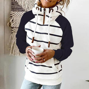 Preppy Zipper Drawstring High Neck Long Sleeve Striped Top-White-S-
