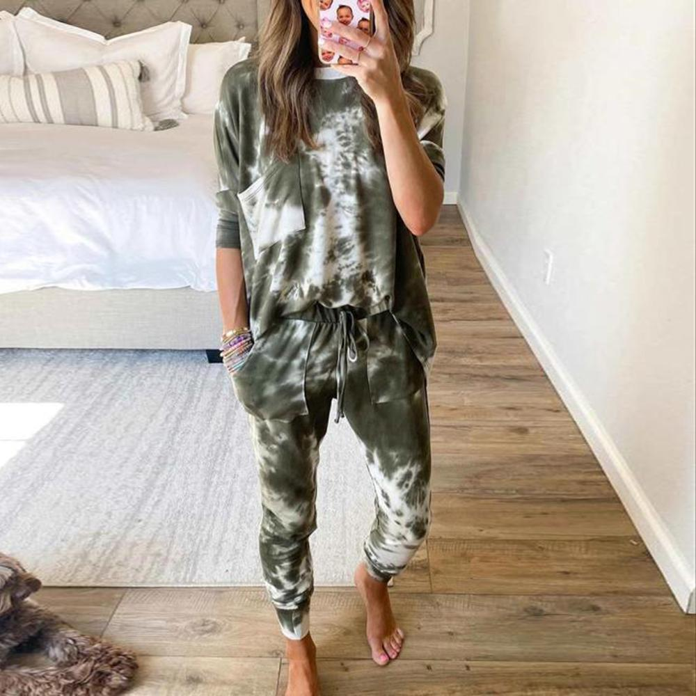 Press Snooze Tie Dye Jogger Set-Army Green-S-