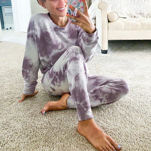 Purple Tie Dye Sweatshirt And Lounge Jogger Pants Set-Purple-S-