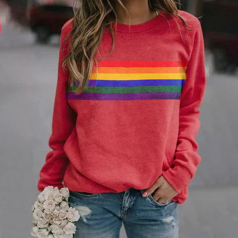 Rainbow Print Long-Sleeved Top-Red-S-