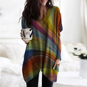 Rainbow Printed Round Neck Batwing Sleeve Loose Top-Multicolor-S-