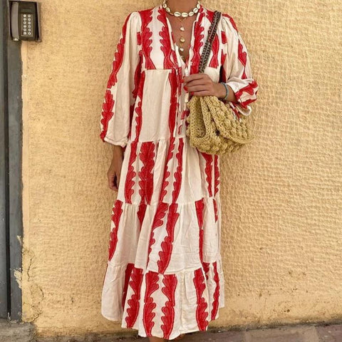 Red Print Long Sleeve Loose Midi Dress-Red-S-