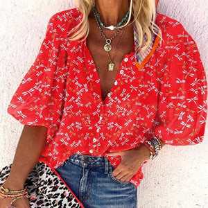 Red Printed Buttoned V-Neck Top-Red-S-