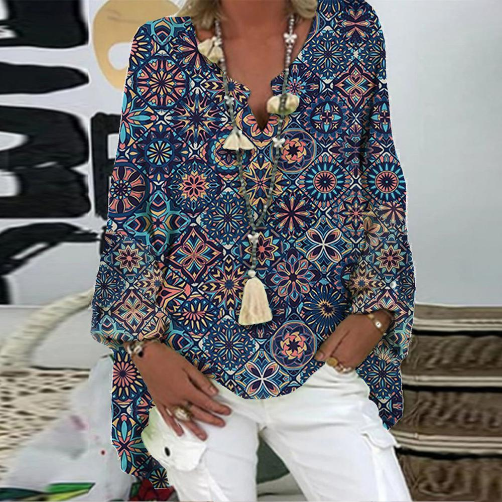 Relive Those Days Printed Tunic Top-Blue-S-
