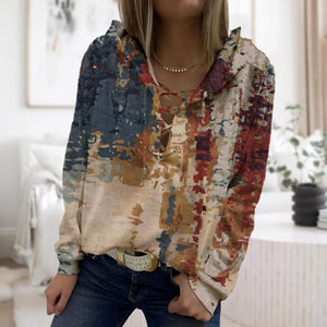 Retro Print Front Tied Long Sleeve Hoodie-Multicolor-S-