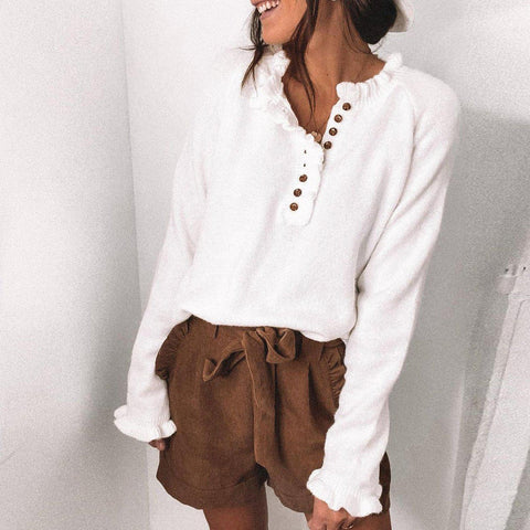 Retro White V-Neck Ruffle Trim Long Sleeve Sweater-White-S-