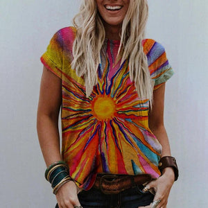 Rise and Shine Printed T-shirt-Multicolor-S-