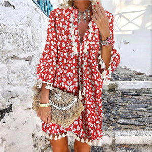 Romantic Holiday Style V-Neck 3/4 Sleeve Printed Tassel Dress-Red-S-