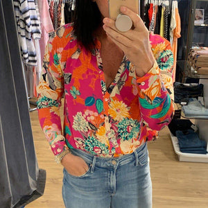Romantic Printed V-Neck Long Sleeve Shirt-Multicolor-S-