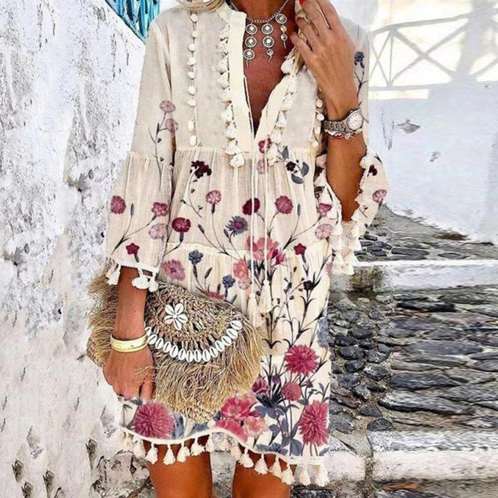 Romantic Vacation Style V-Neck Floral Pleated Dress-Multicolor-S-