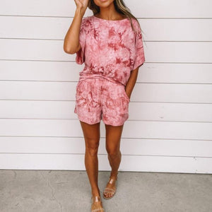 Round Neck Batwing Sleeve Tie Dye Top And Casual Shorts Set-Pink-S-