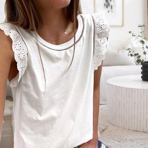 Round Neck Cap Sleeve Solid Top-White-S-
