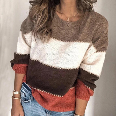 Round Neck Color Block Striped Sweater-COFFEE-S-