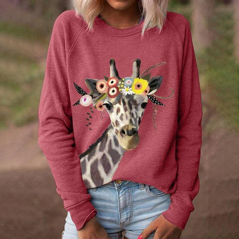 Round Neck Long Sleeve Animal Printed Sweatshirt-Red-S-
