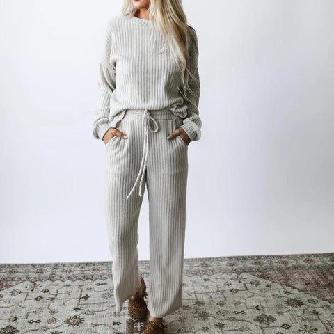 Round Neck Long Sleeve Loose Lounge Set-WHITE-S-