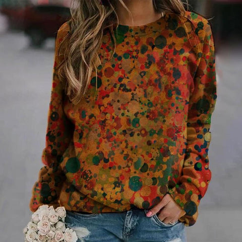 Round Neck Long Sleeve Vintage Printed Sweatshirt-Multicolor-S-