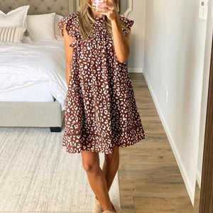 Round Neck Sleeveless Brown Floral Mini Dress-Brown-S-