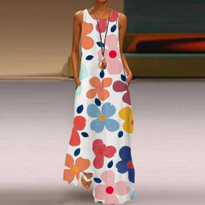 Round Neck Sleeveless Floral Vacation Dress-Multicolor-S-