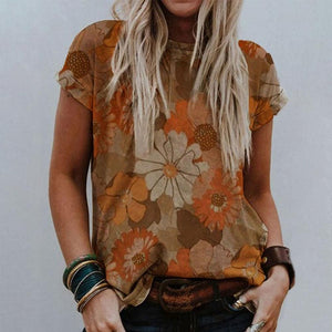 Round Neck Vintage Floral T-Shirt-Brown-S-