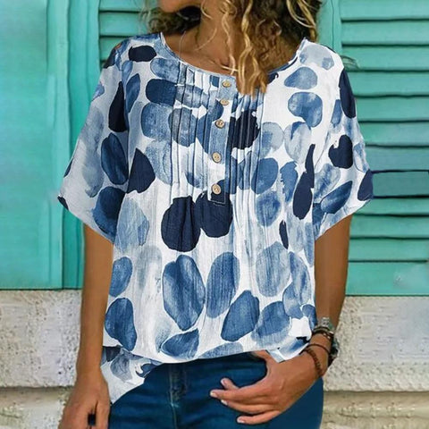 Second Nature Circle-print Top-Blue-S-