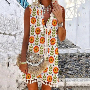 Send her Sunflowers Floral-print Shift Dress-Multicolor-S-