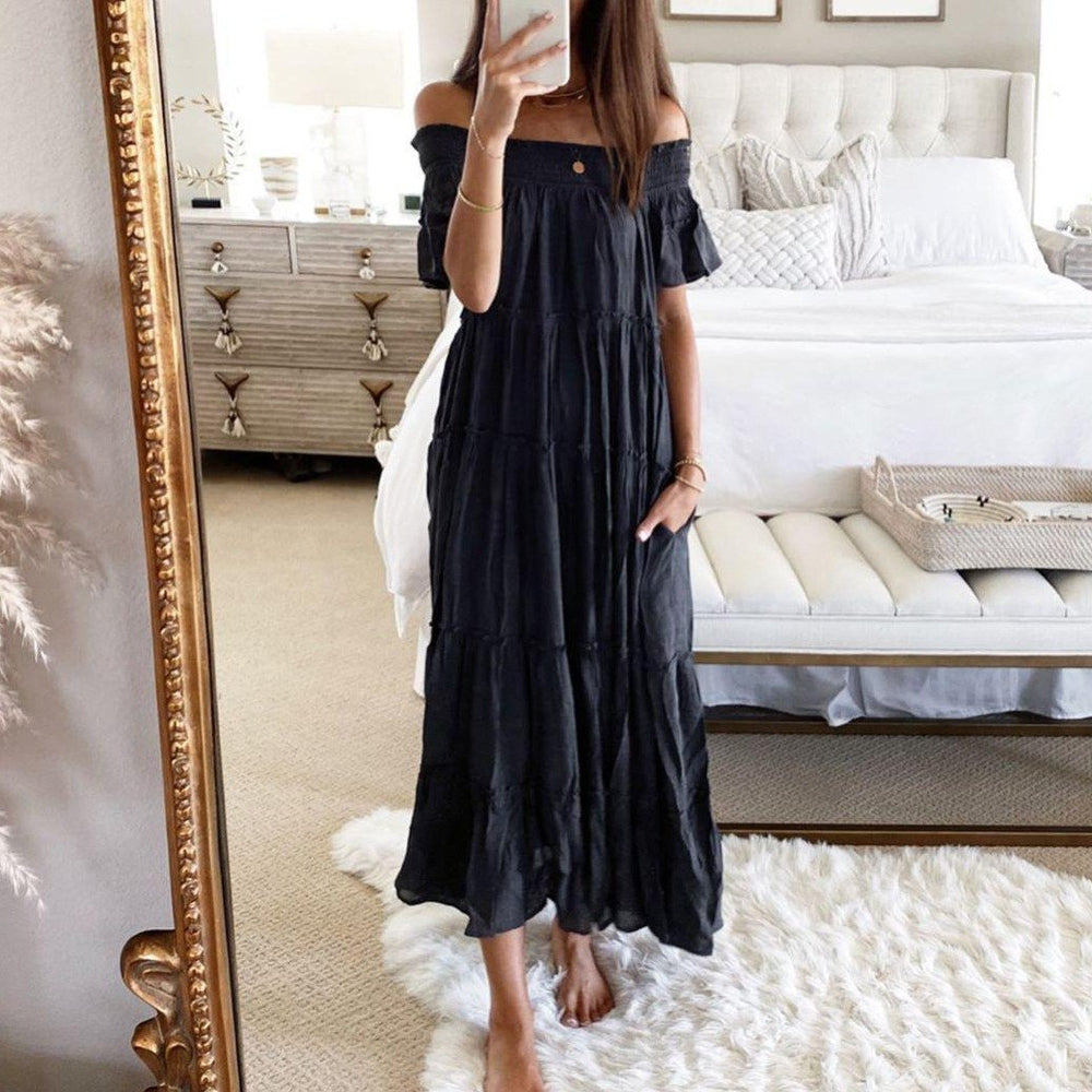 Set the Mood Black Maxi Dress-Black-S-