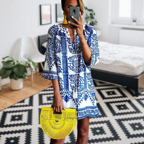 Set your Sights Printed Dress-BLUE-S-