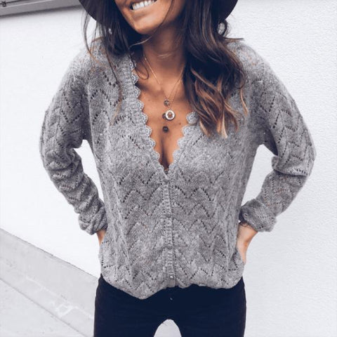 Sexy Grey V-Neck Long Sleeve Sweater Cardigan-Grey-S-