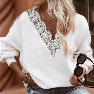 Sexy Lace V-Neck Long Sleeve Sweater Top-White-S-