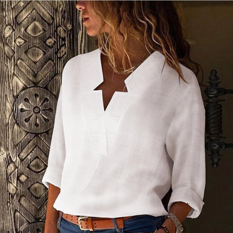 Sexy Notched Neck Pure Color Long Sleeve Blouse-WHITE-S-