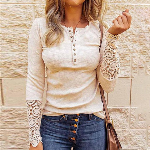 Sexy Slim Button V-Neck Long Sleeve Sweater-Apricot-S-