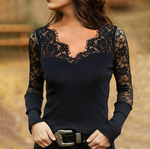 Sexy Slim Fitted Black Lace Long Sleeve Blouse-Black-S-