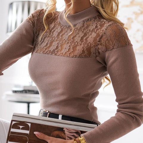 Sexy Slim Fitted Lace Long Sleeve Sweater-Purple-S-
