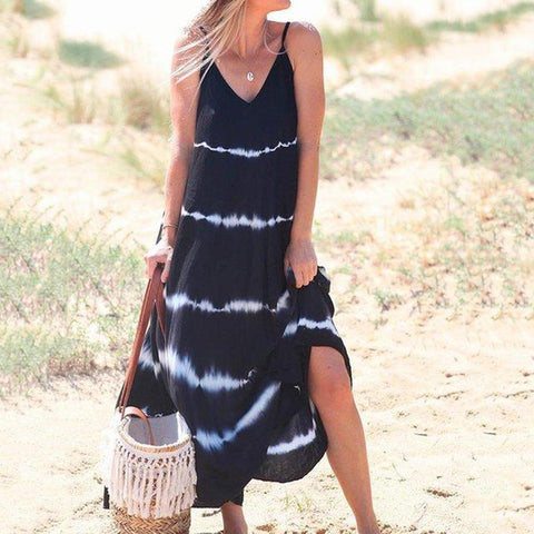 Sexy Sling Printed Vacation Maxi Dress-Black-S-