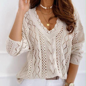 Sexy V-Neck Hollow Out Long Sleeve Sweater-Apricot-S-