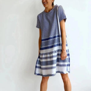 Shape of You Blue & White Short Sleeve Dress-BLUE-S-