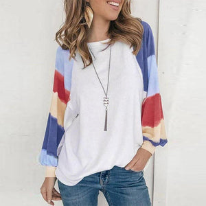 Showy Color Block Print Long Sleeve Top-White-S-