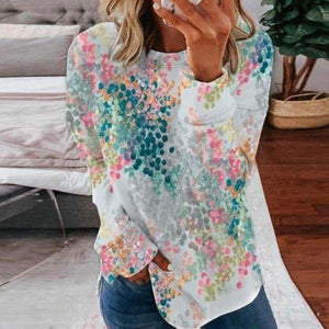 Showy Print Round Neck Long Sleeve Sweatshirt-Multicolor-S-
