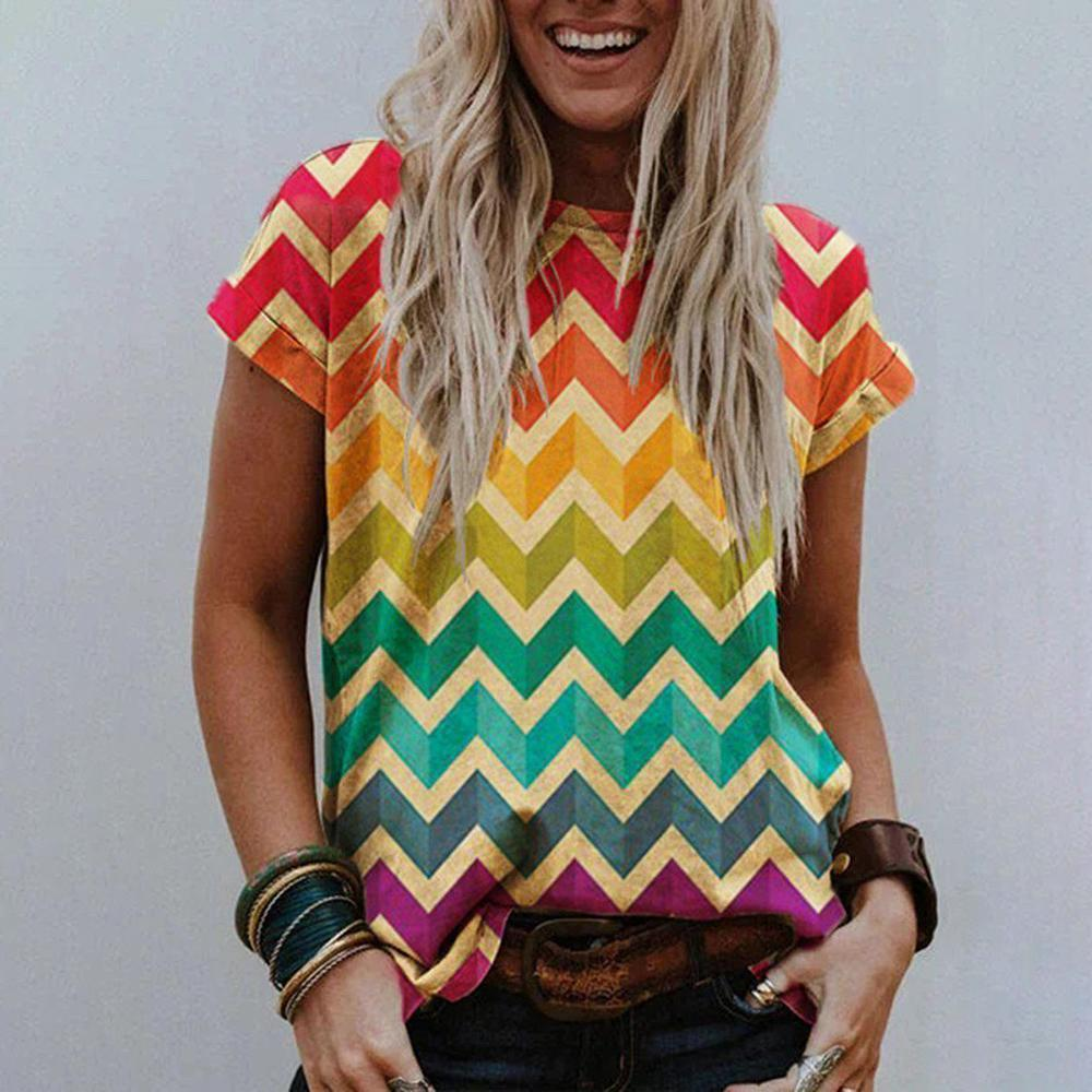 Showy Print Round Neck T-Shirt-Multicolor-S-