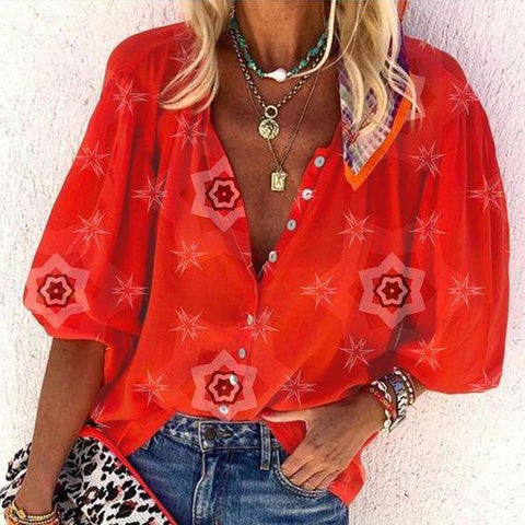 Showy Red Print Puff Sleeve Top-Red-S-