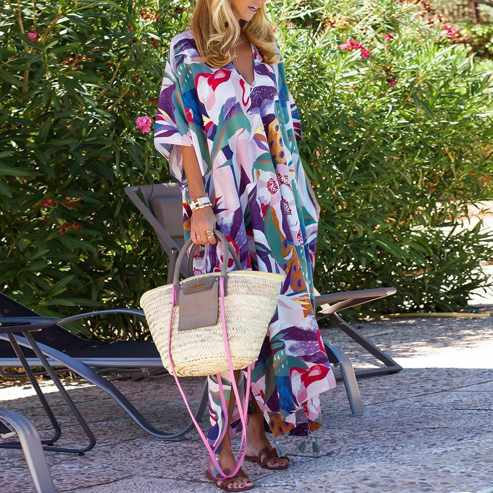 Simple Batwing Sleeve Print Loose Maxi Dress-Multicolor-S-