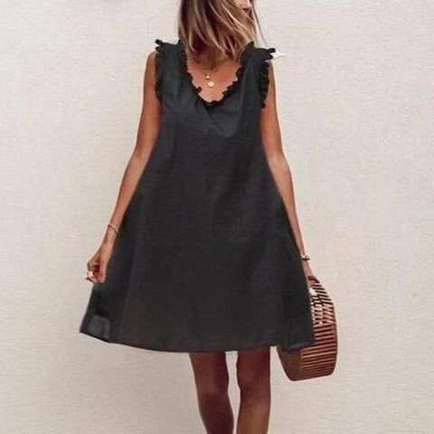 Simple Black Sleeveless Loose Mini Dress-Black-S-