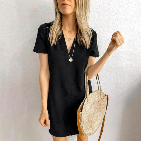 Simple Black V-Neck Short Sleeve Loose Mini Dress-Black-S-