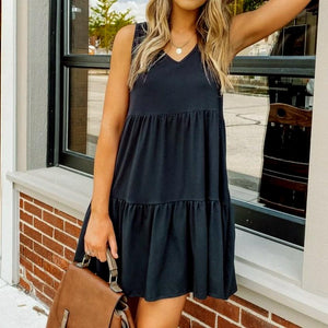Simple Black V-Neck Sleeveless Splice Pleated Dress-Black-S-