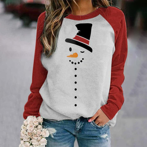 Simple Color Block Long Sleeve Printed Top-Red-S-