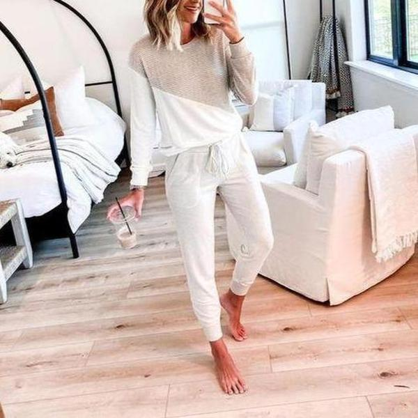 Simple Color Block Round Neck Sweatshirt And Fitted Lounge Jogger Pants Set-White-S-