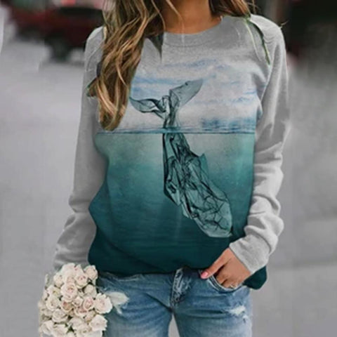Simple Crew Neck Print Top-Grey-S-