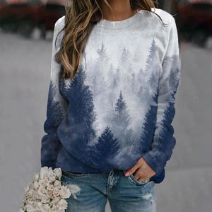 Simple Fashion Long Sleeve Printed Sweatshirt-Navy-S-